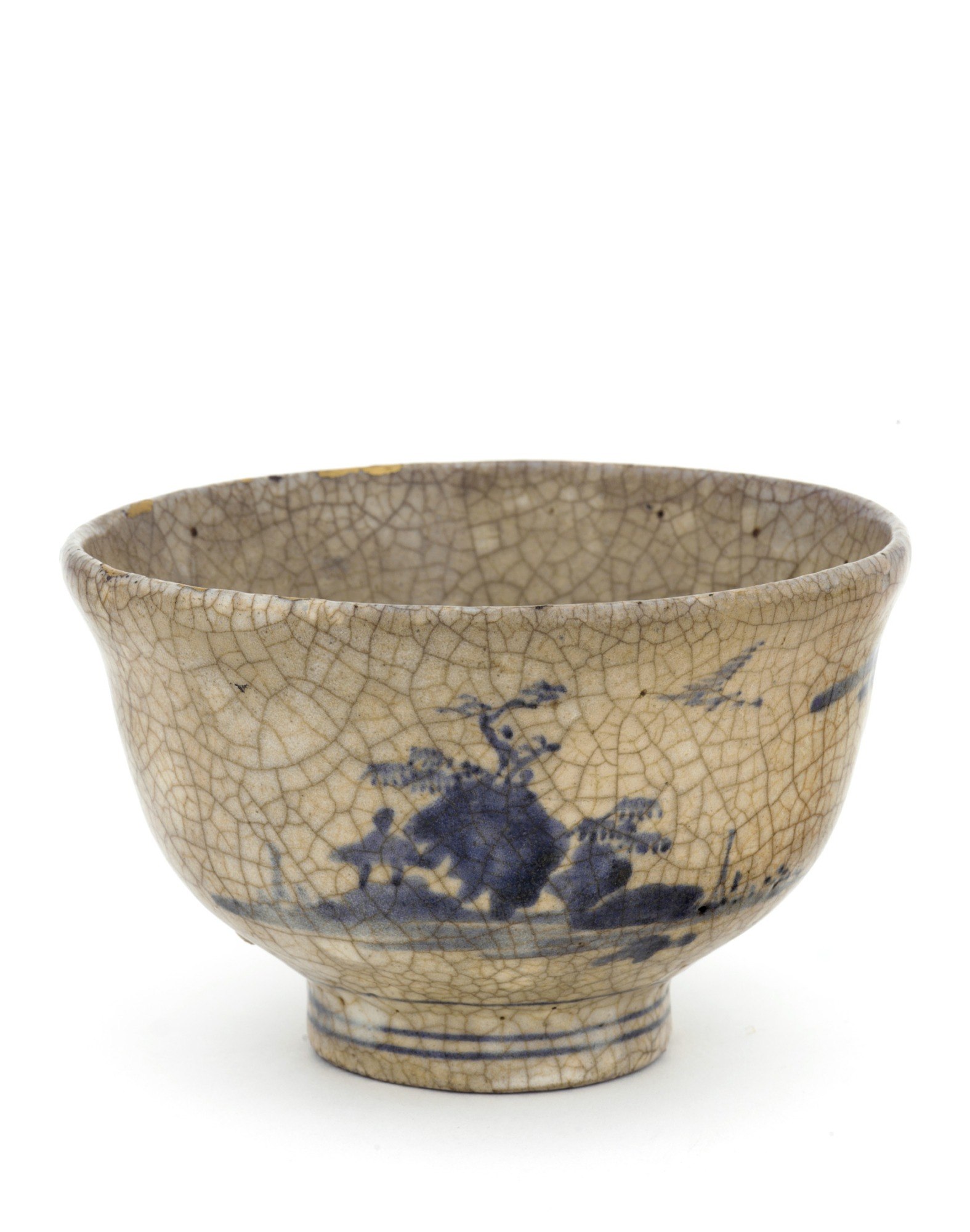 Arita ware tea bowl with landscape design