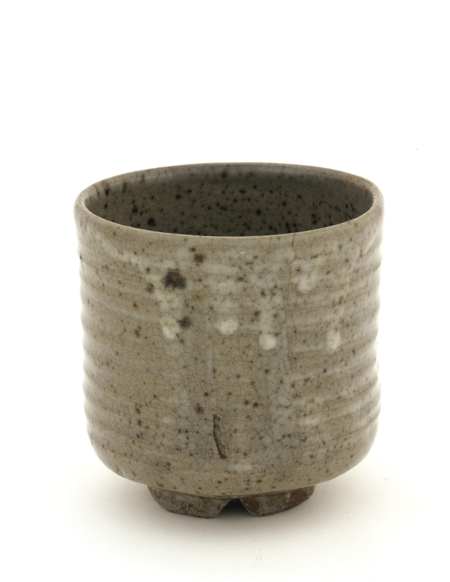 3/4 profile: Asahi ware cylindrical tea bowl
