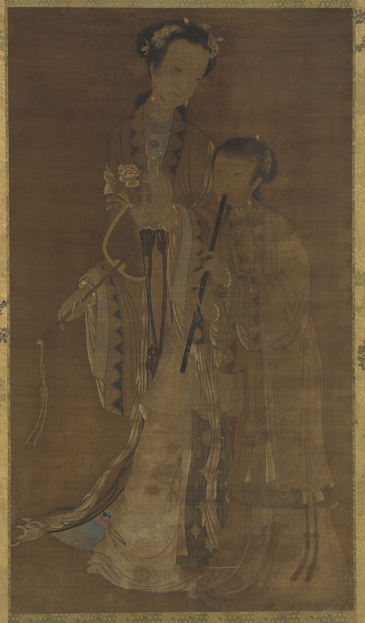 : Courtesans with fan and flute