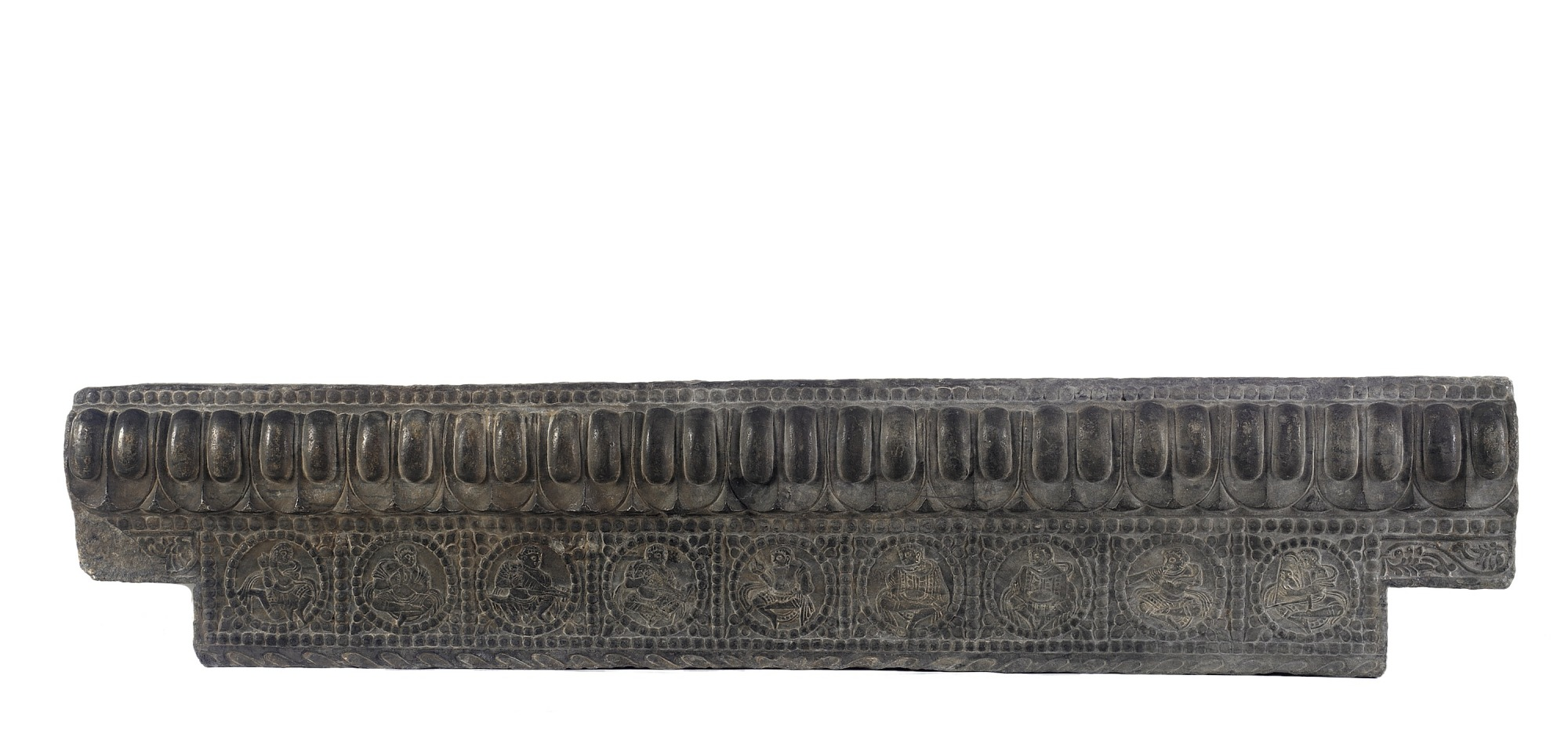 profile: Lateral stretcher from the base of a funerary couch with Sogdian musicians and a dancer