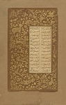 Folio from Yusuf u-Zulaikha by Jami (d.1492); recto: Hares, deer and birds in landscape; verso: Floral scrolls