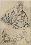 Preparatory sketch for The Courtesan Eguchi as the Bodhisattva Fugen and the Monk Saigyo