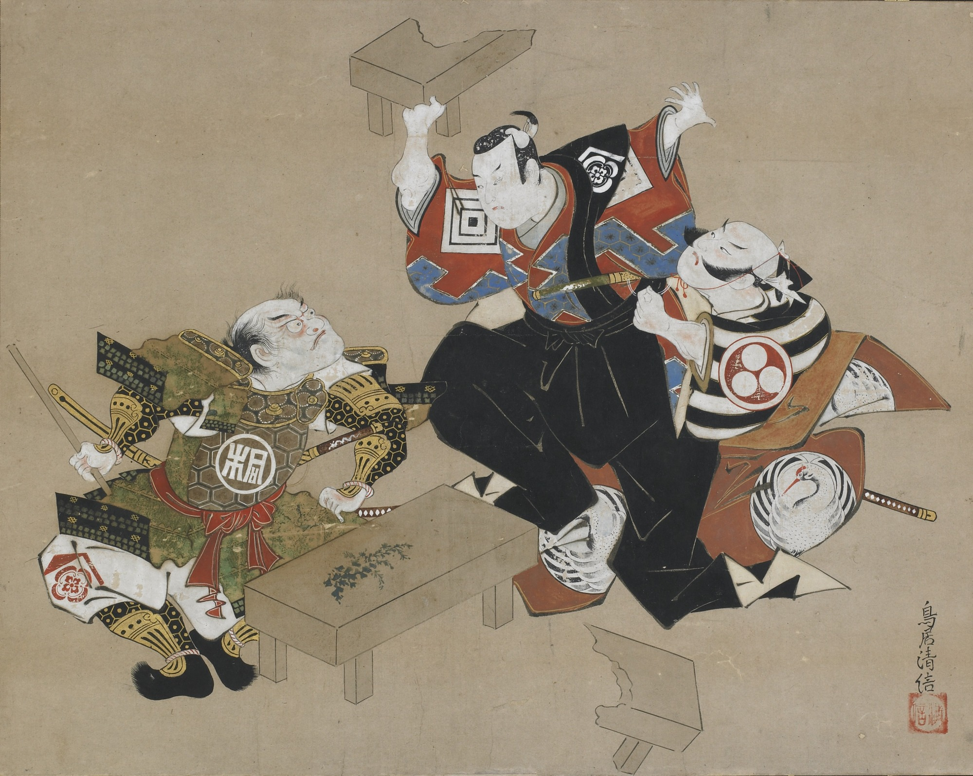 image: The Actors Ichikawa Danjuro II as Soga no Goro and Ogawa Zengoro as Kudo Suketsune