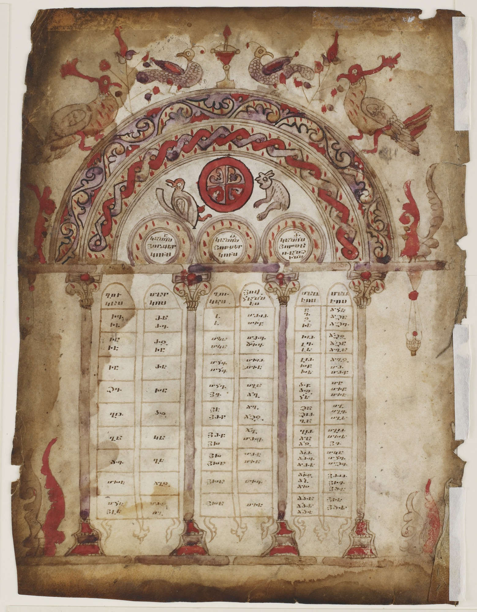 verso: Canon Table from a Gospel manuscript