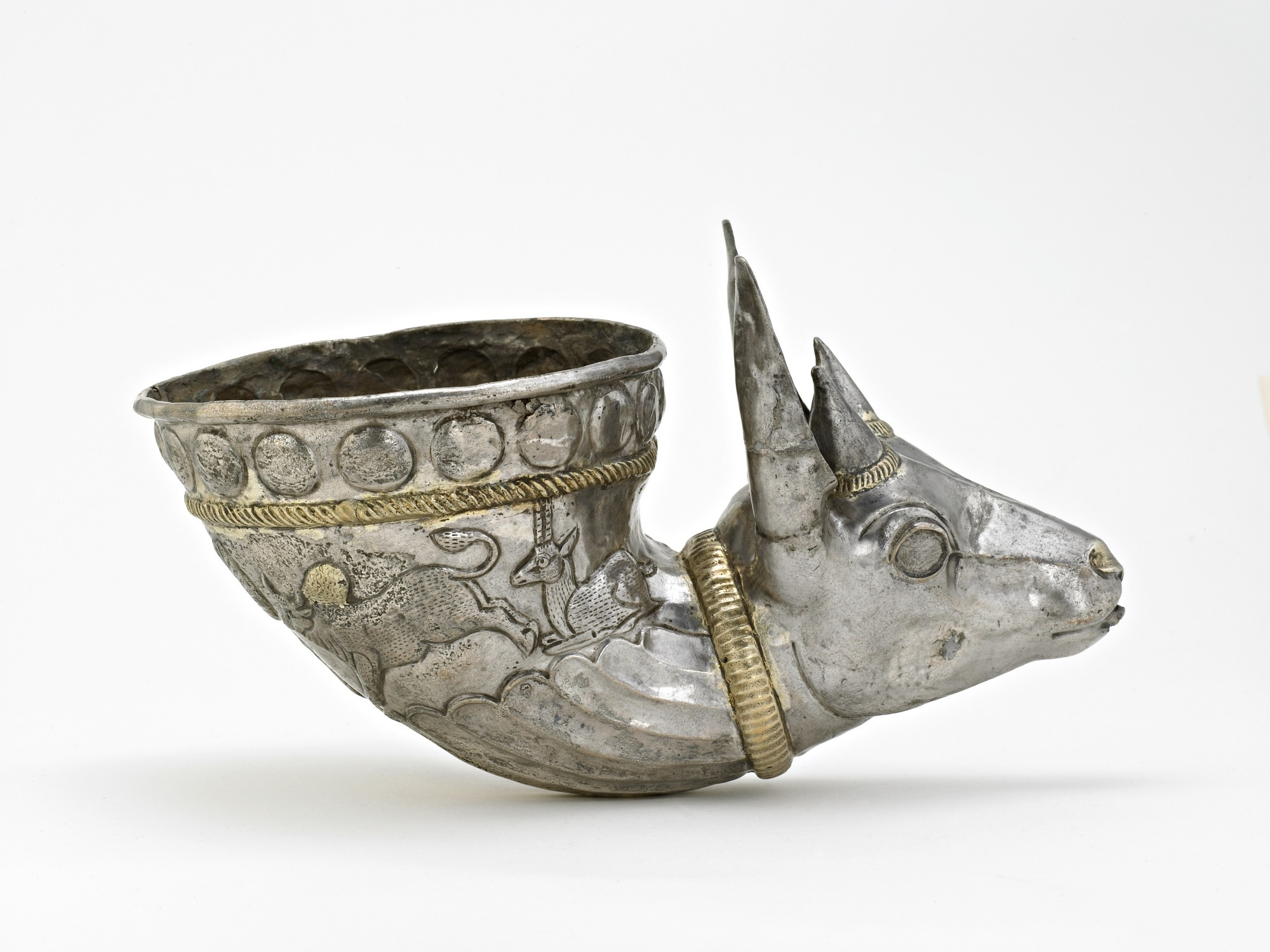 : Spouted vessel with gazelle protome