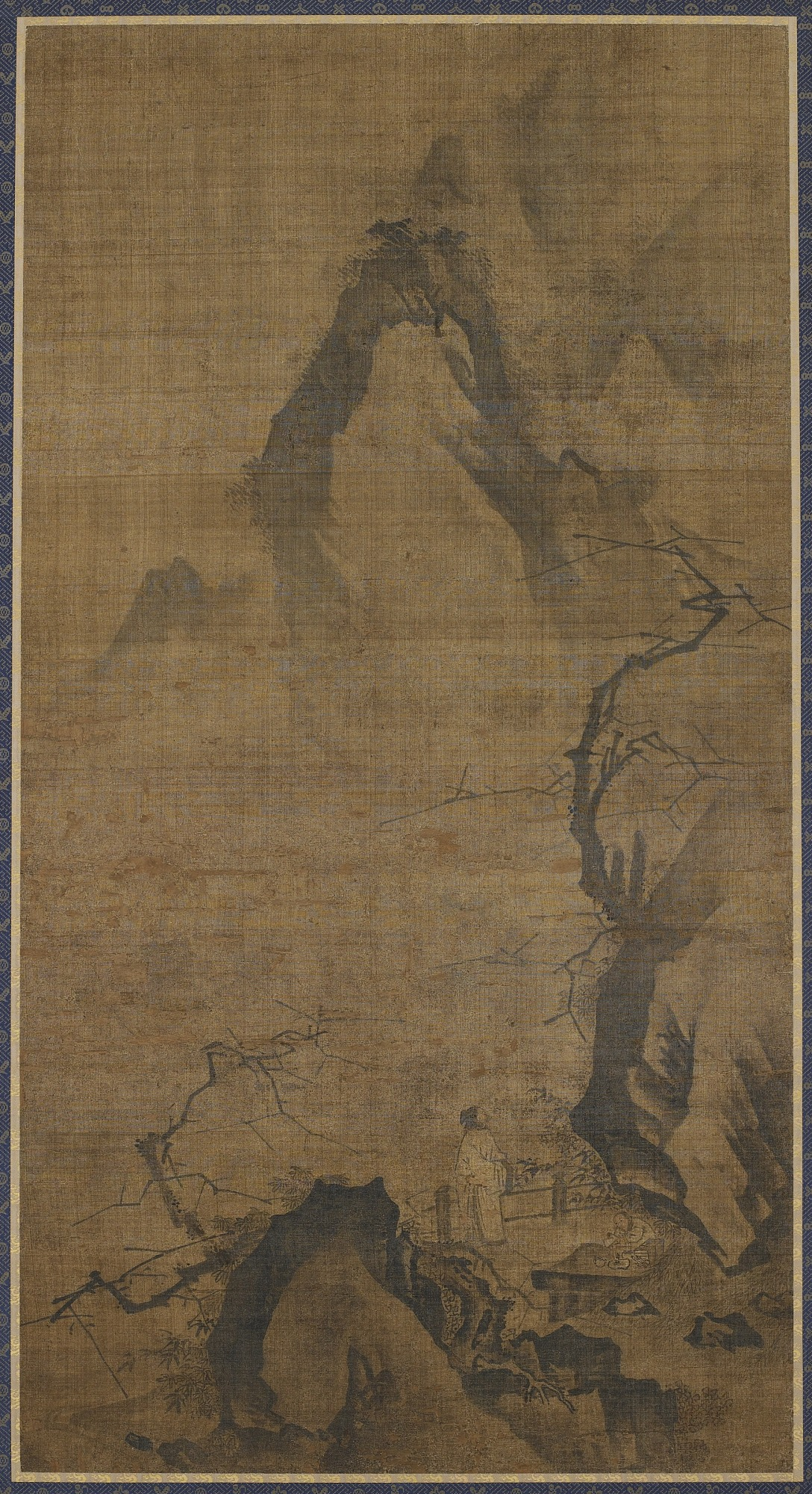 : Landscape: mountain and water; a figure under a plum tree