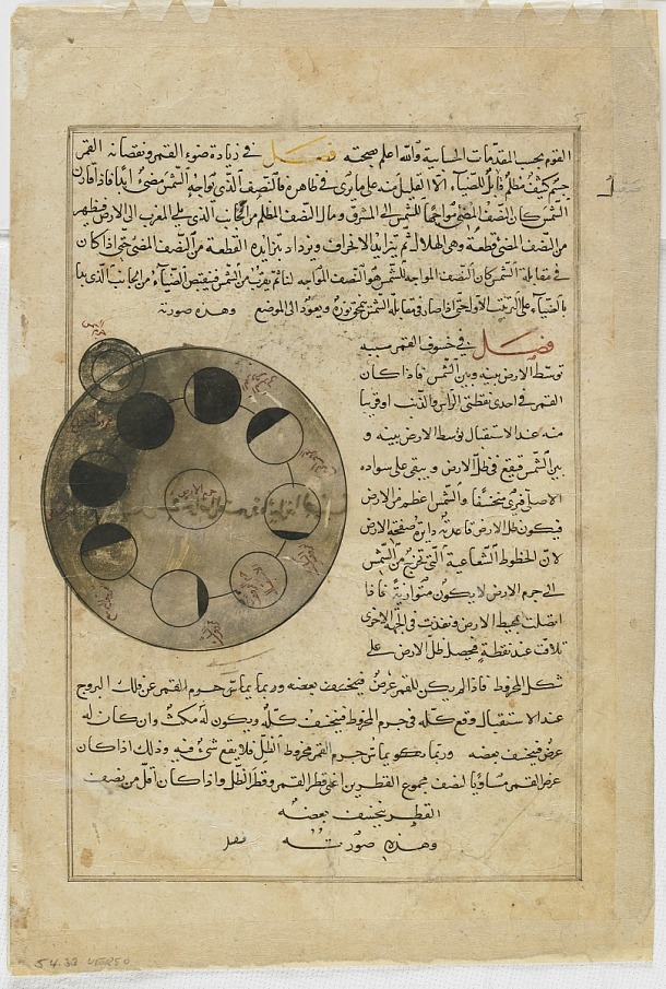 verso: Folio from Aja'ib al-makhluqat (Wonders of Creation) by al-Qazvini; recto: Symbol of the Moon, Sphere of the Moon; verso: Phases of the Moon