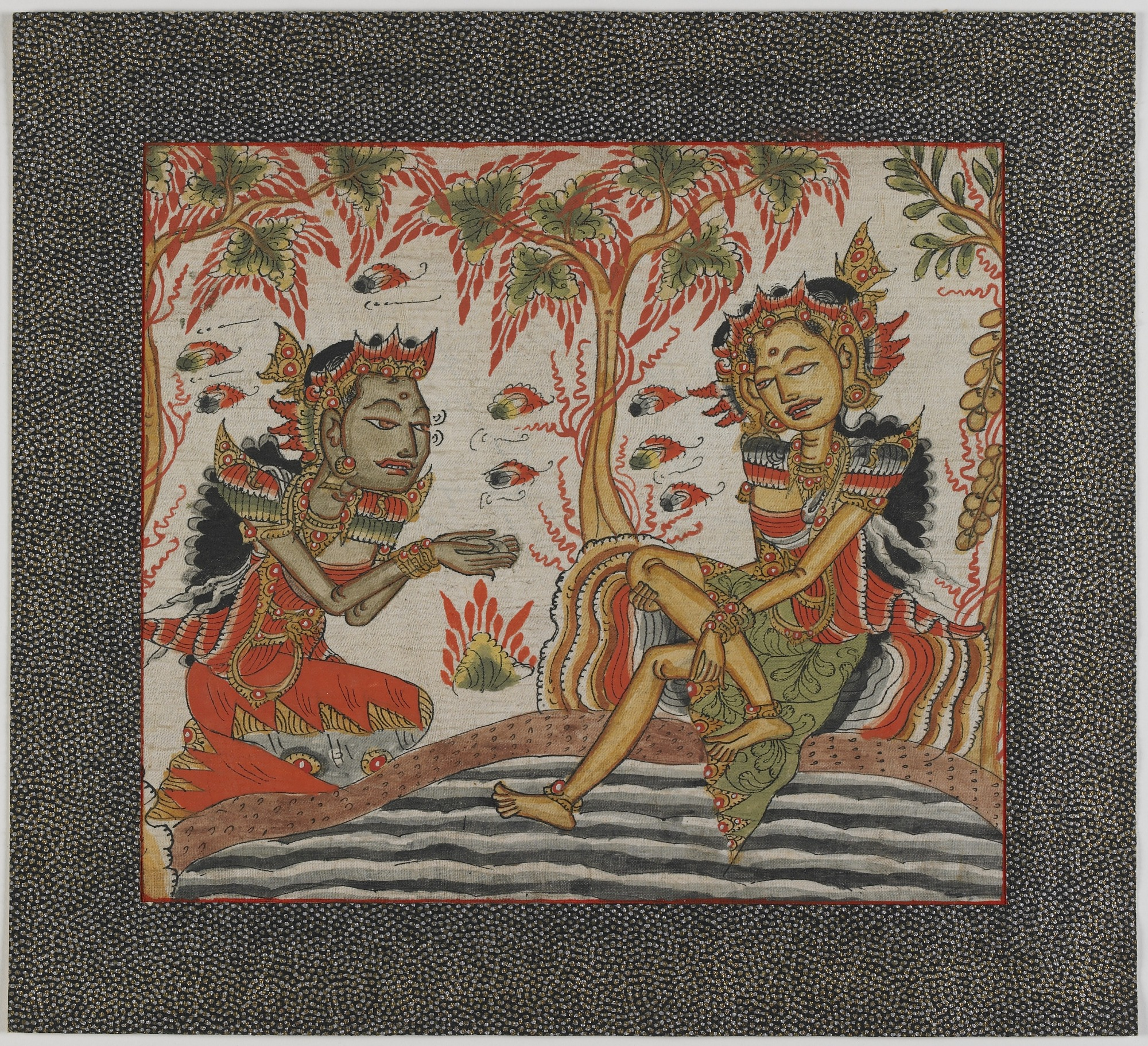 : Two Figures Conversing Beside a River