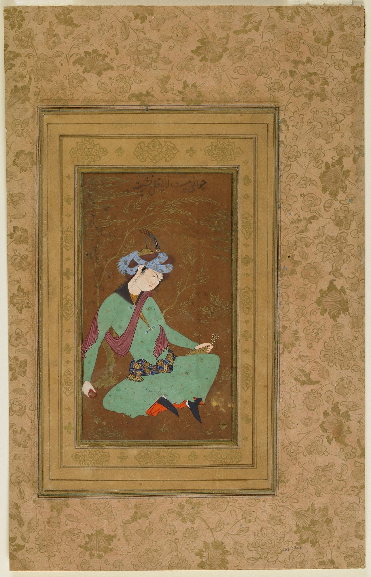 : Seated youth in green robe