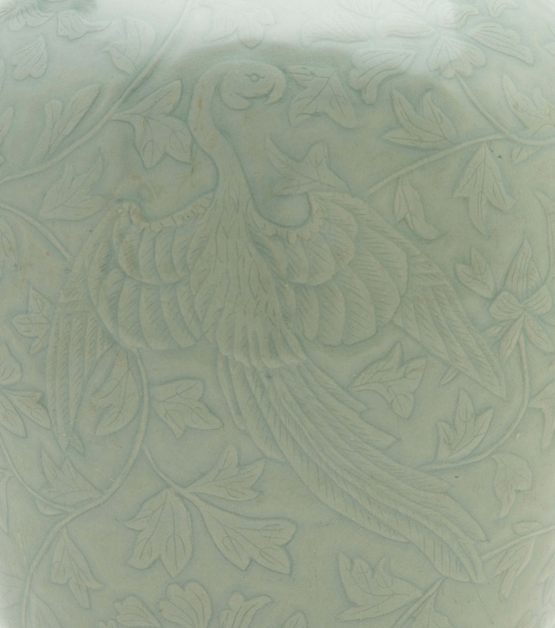 detail: Bottle with carved and incised design of two phoenixes and peony vinescrolls