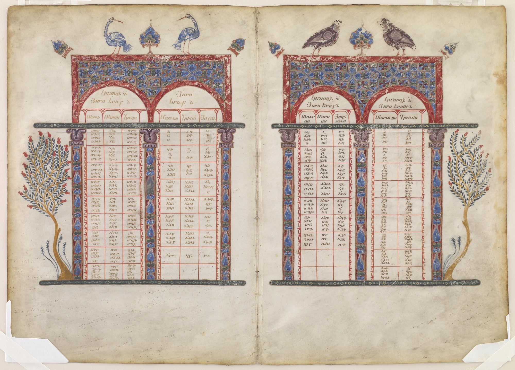 Canon tables, from folios 5-6 of a copy of The Gospel according to the four Evangelists