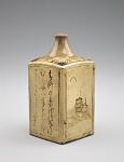 Square sake bottle with designs of paintings and poems