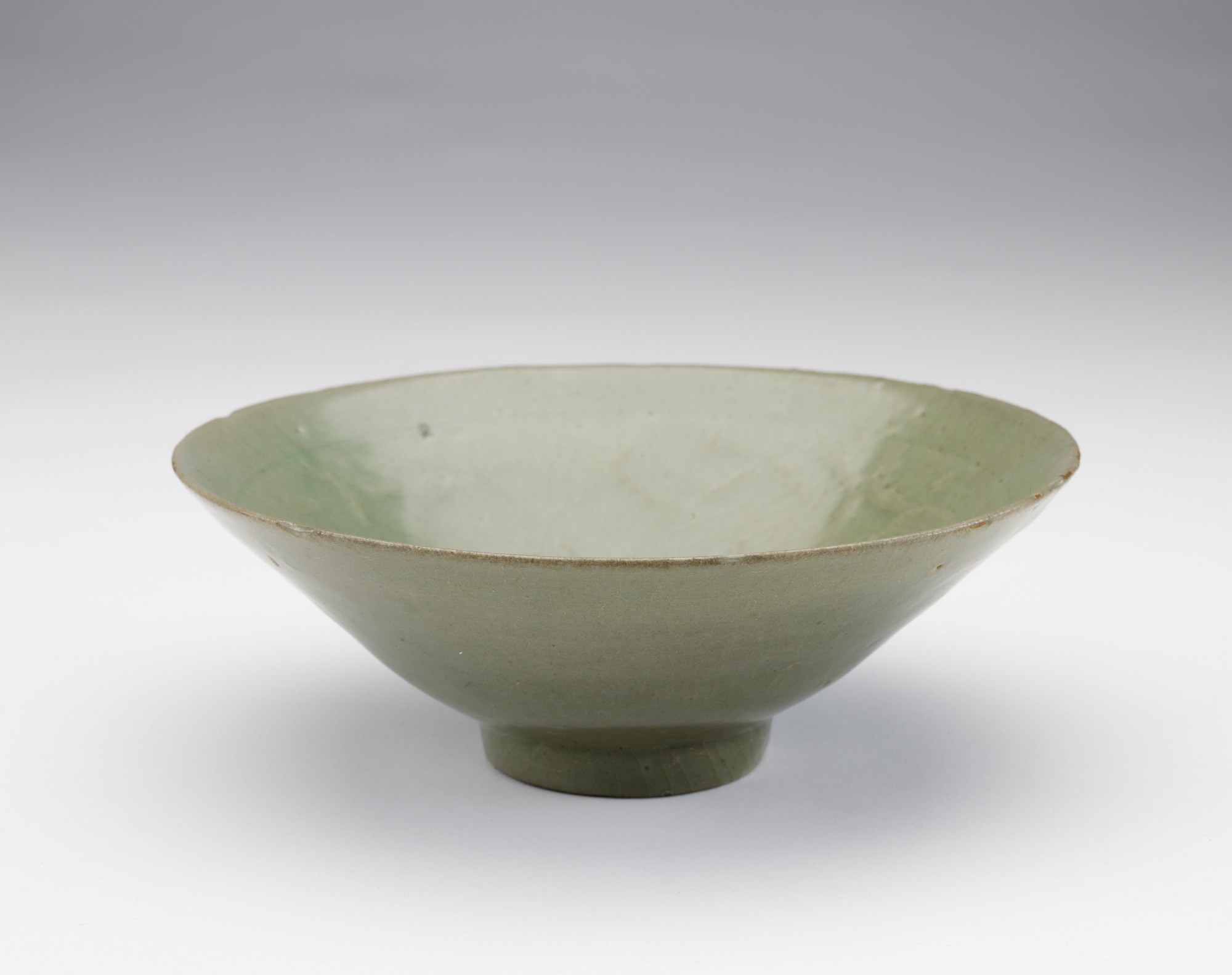Bowl with molded and incised design of hibiscus flowers, 3/4 profile