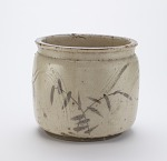 Seto ware water jar with design of reeds and water