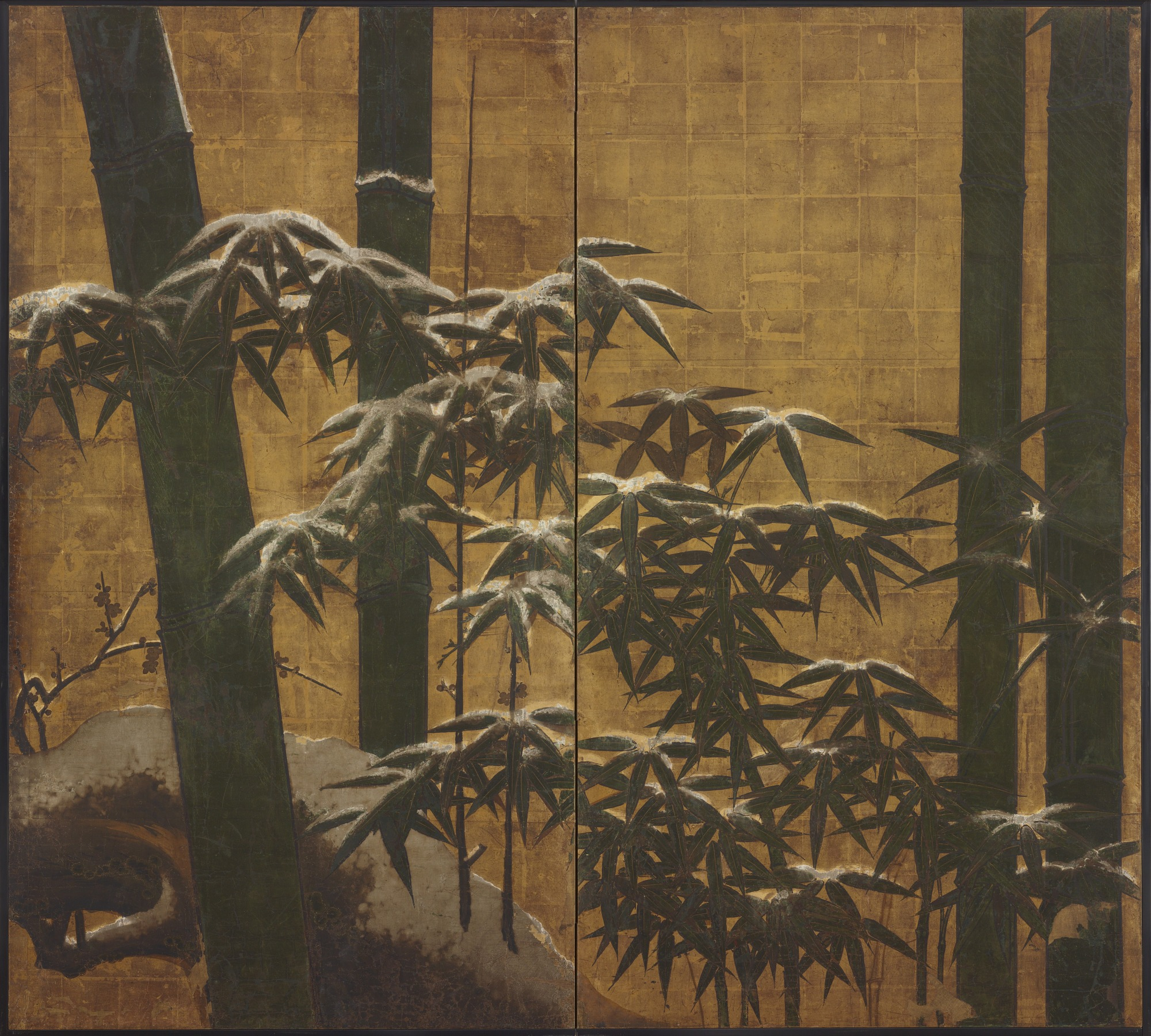 Snow-laden bamboos and plum blossoms of early spring