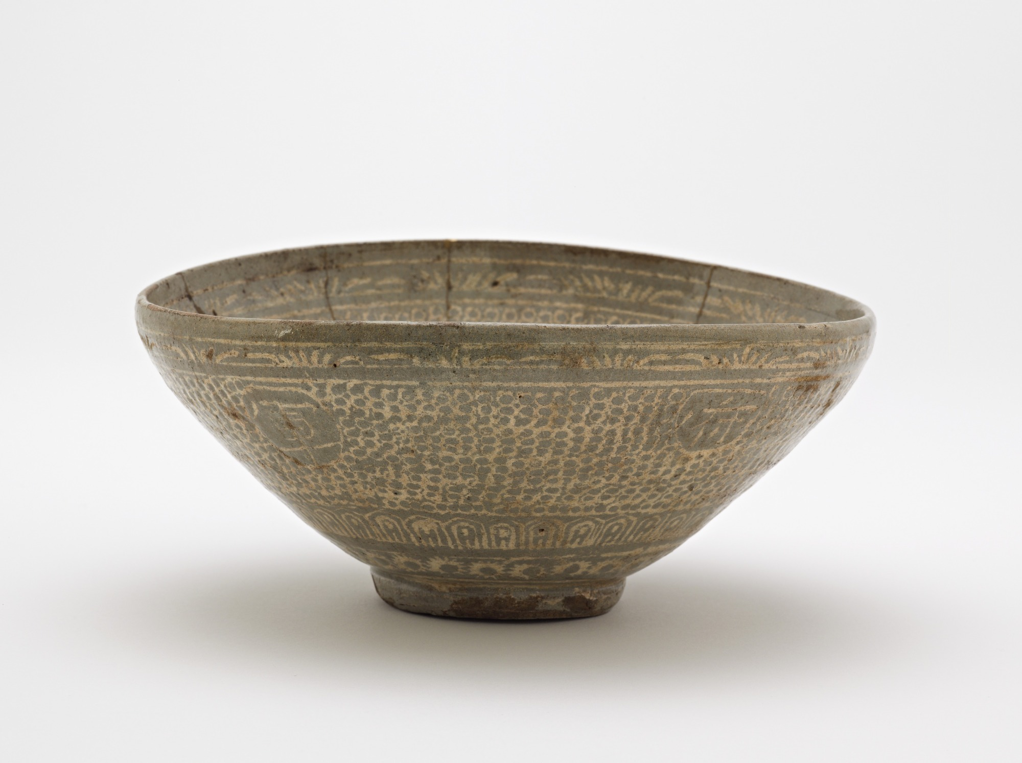 Bowl with inlaid inscription, profile