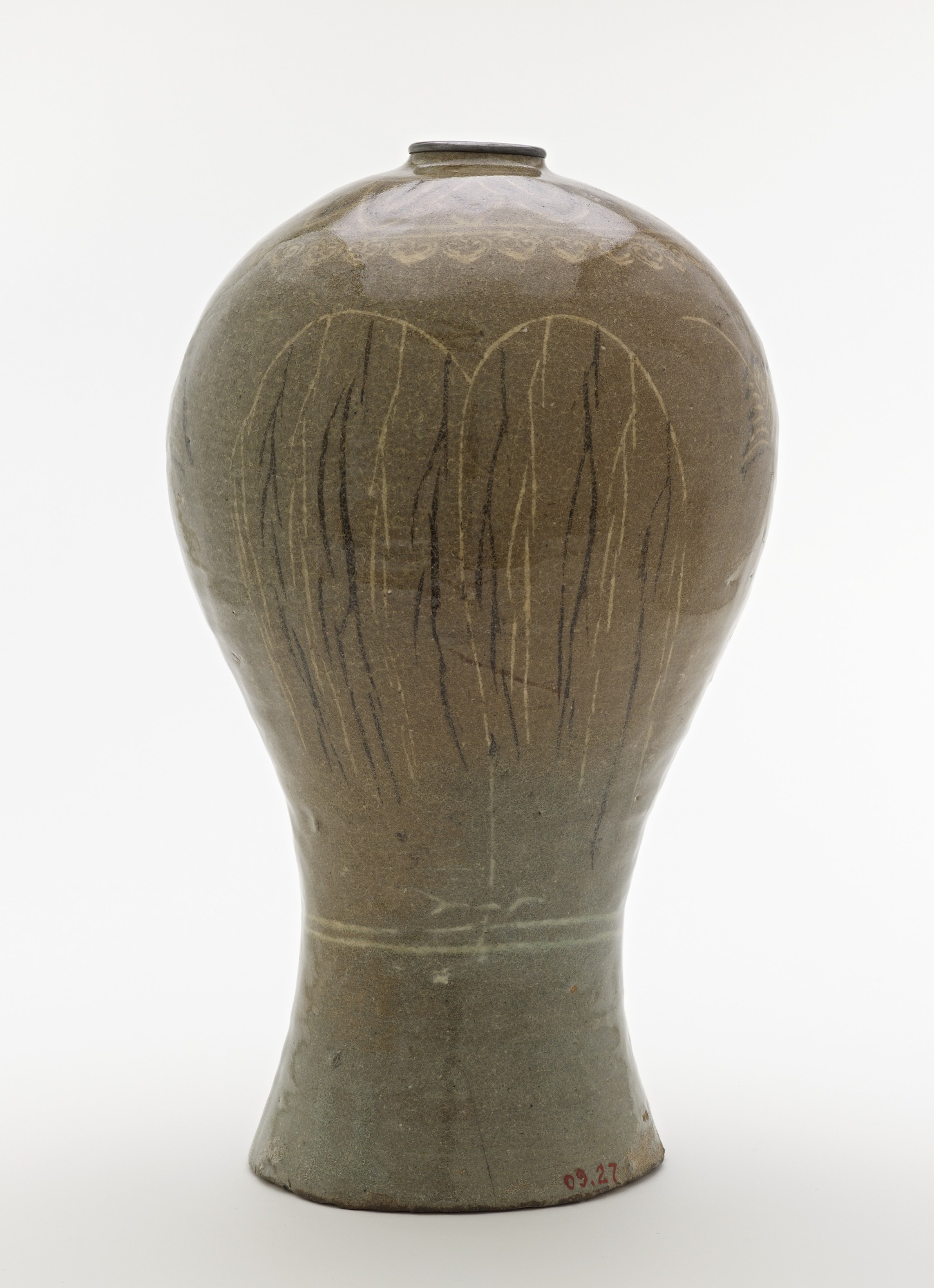 Bottle with inlaid design of willow trees and reeds, profile