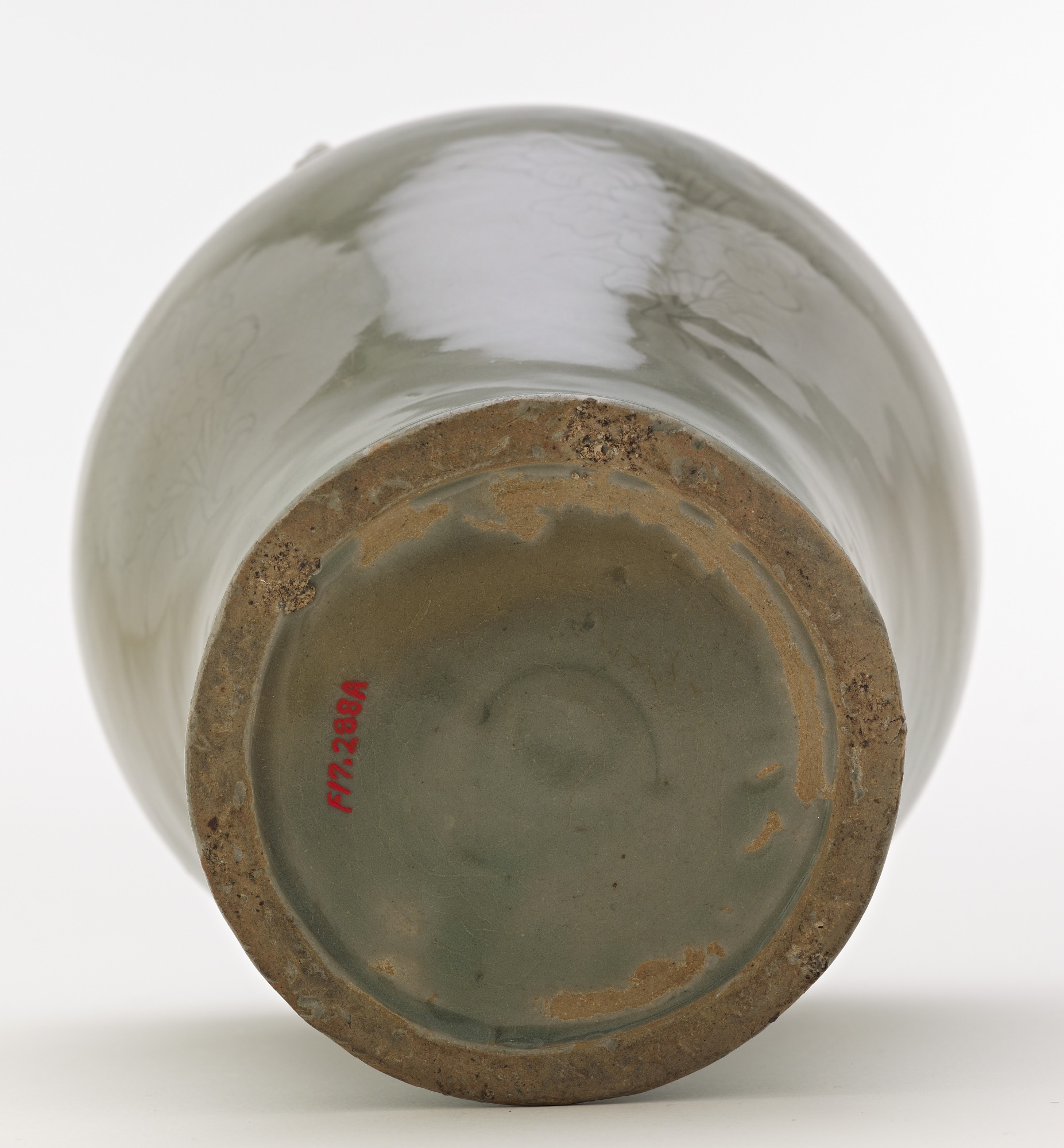 base: Jar with incised design of lotus sprays