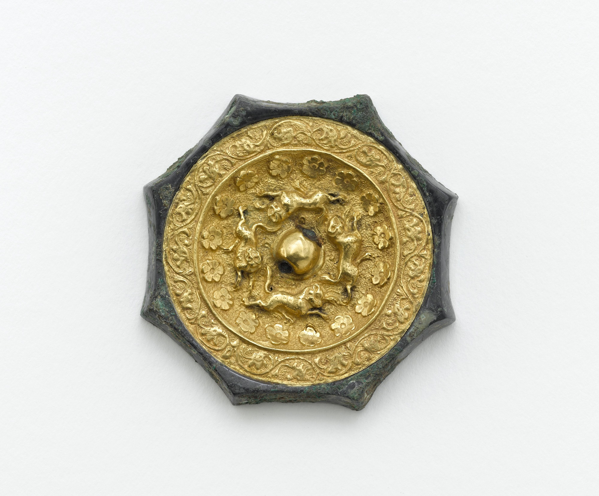 : Octagonal mirror with animals, flowerets, and floral scrolls