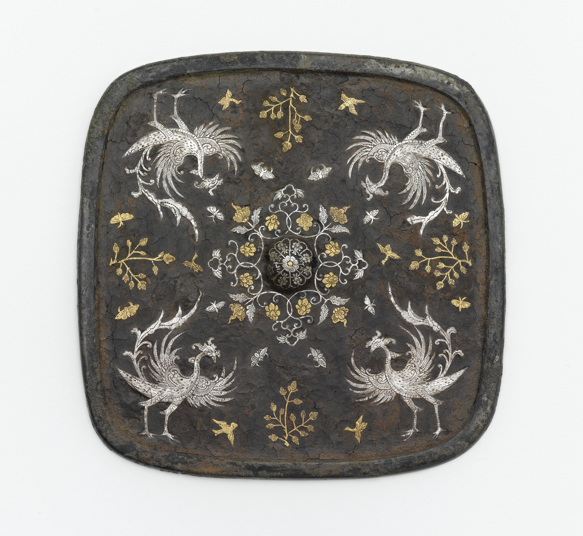 Square mirror with floral medallion, plant sprays, birds, and insects