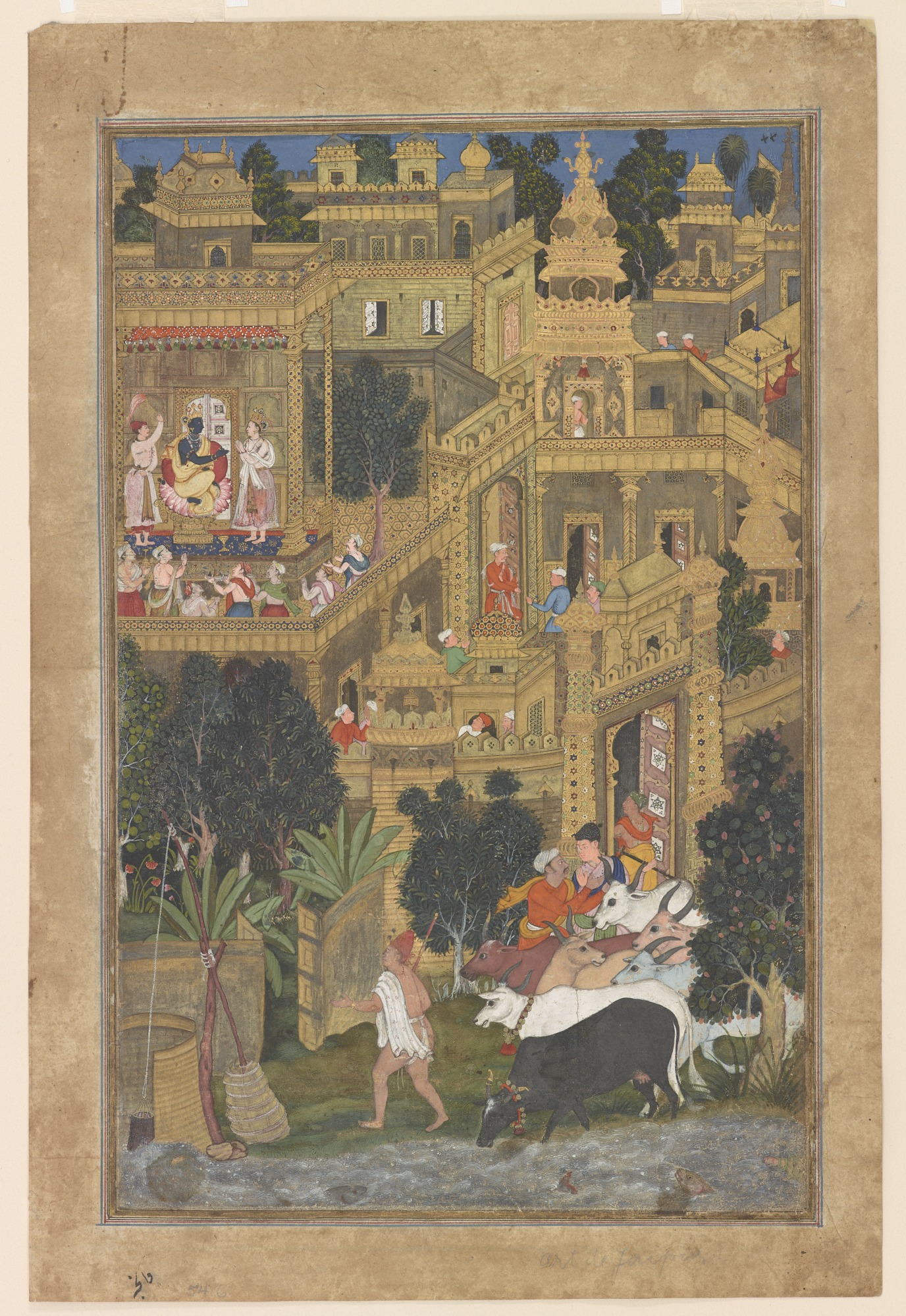 : Krishna and the Golden City of Dwarkafrom the Harivamsha (Geneology of Vishnu)