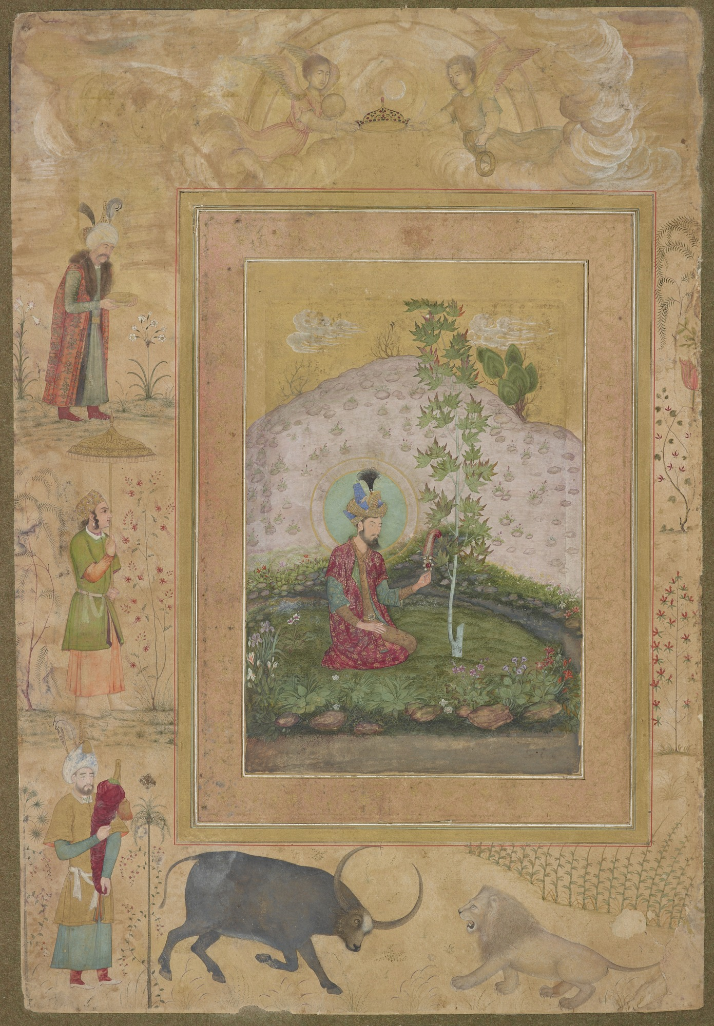 : Humayun Seated in a Landscape, from the Late Shah Jahan Album