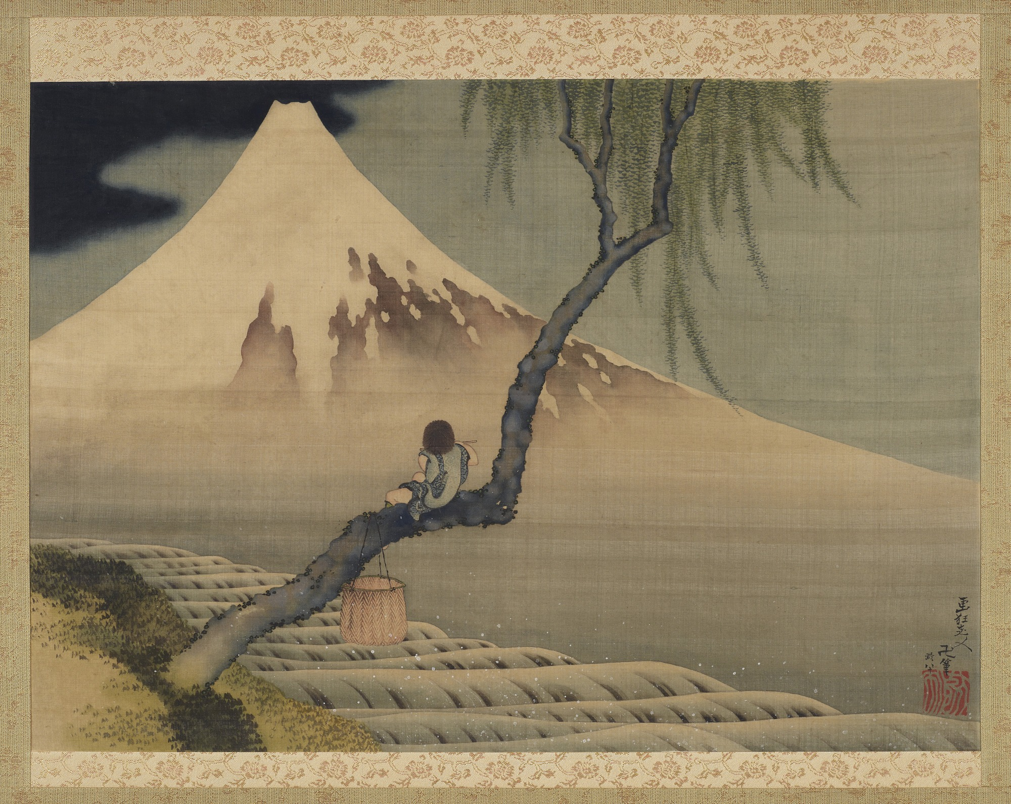 Boy Viewing Mount Fuji