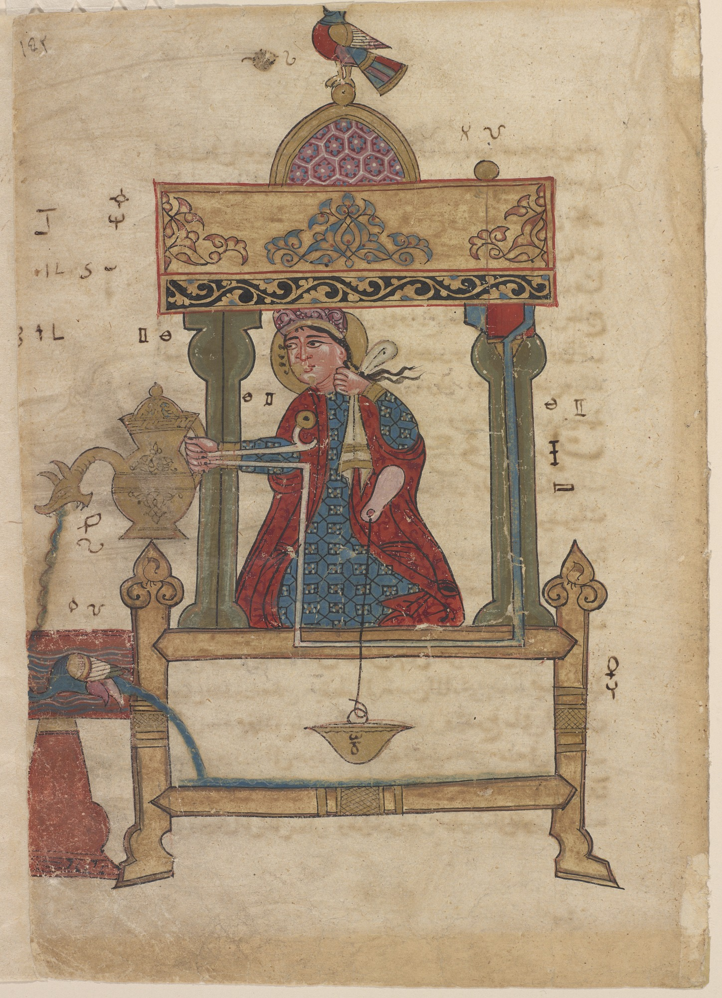 Folio from Kitab fi ma`arifat al-hiyal al-handisaya (The book of knowledge of ingenious mechanical devices) Automata by al-Jazari (d.1206); recto: A hand-washing device in the form of a woman holding a pitcher; verso: text