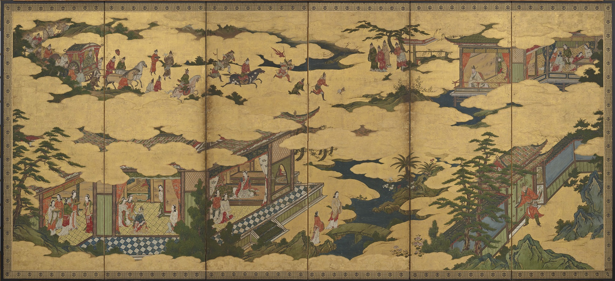 : Scenes from the life of the Ming Huang Emperor and Yang Guifei (one of a pair with F1901.21)