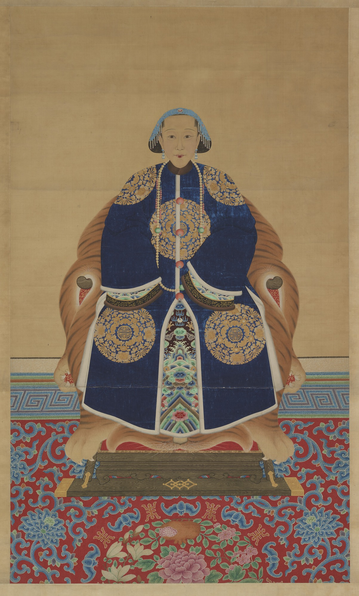 : Portrait of Chinese Woman in a Kingfisher Headdress