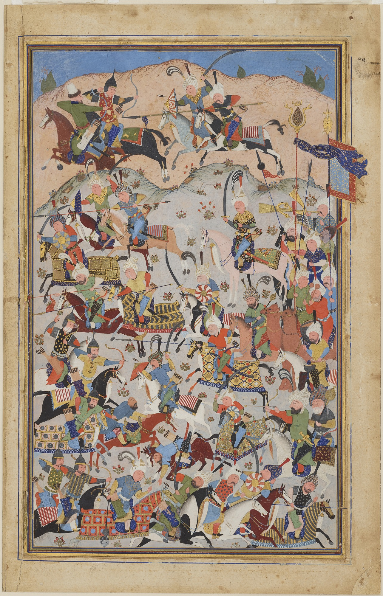: Folio from a Shahnama [?] (Book of kings) by Firdawsi (d.1020); Battle scene