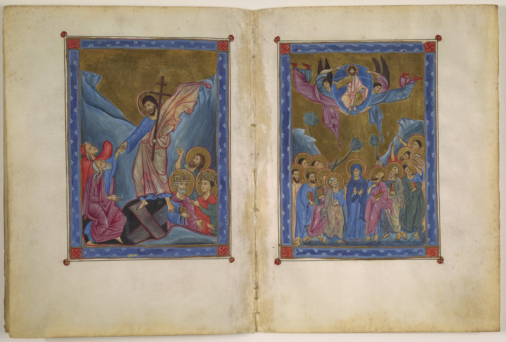folios 4 verso and 5 recto: Descent into Hell and the Ascension from a Gospel according to Four Evangelists
