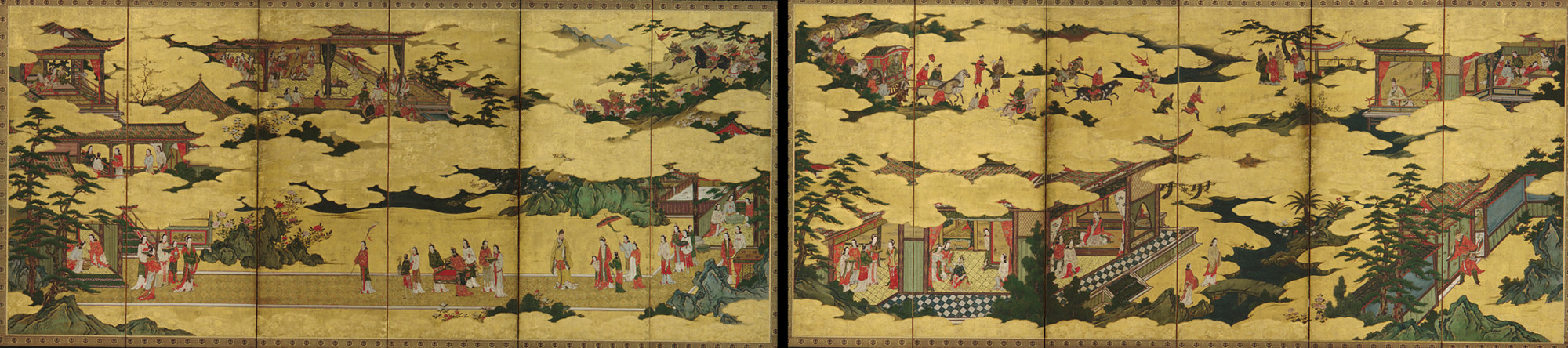 F1901.20-21: Scenes from the life of the Ming Huang Emperor and Yang Guifei (one of a pair with F1901.21)