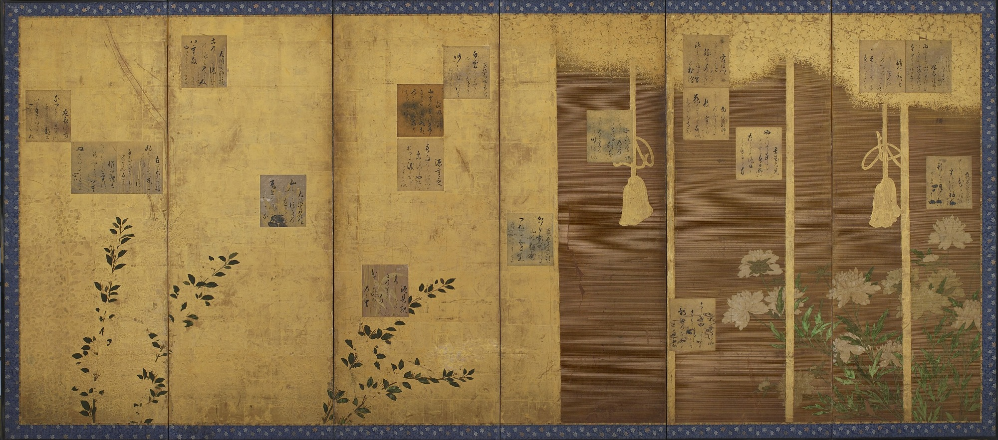 Folding screens mounted with poems from the anthology, Shin kokinshu