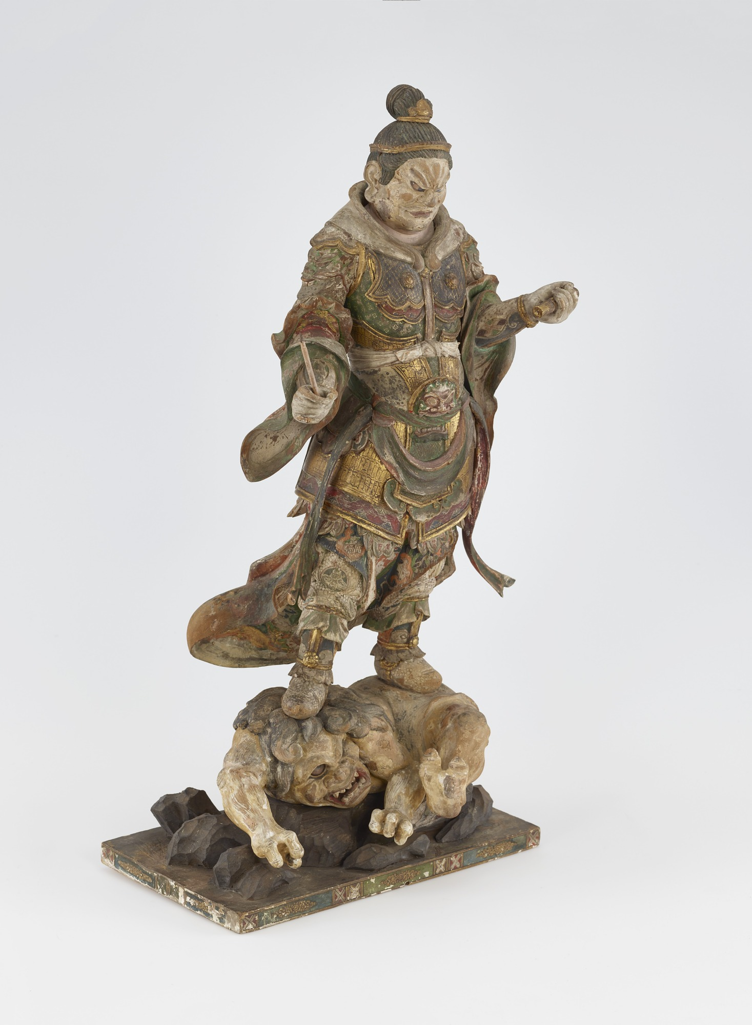 3/4 proper right: Komoku-ten, Guardian of the West, one of a set of four Shitenno (Guardian Figures)