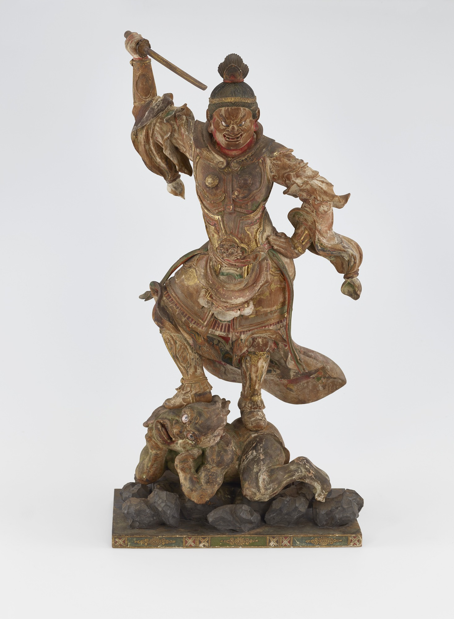 front: Jikoku-ten, Guardian of the East, one of a set of four Shitenno (Guardian Figures)