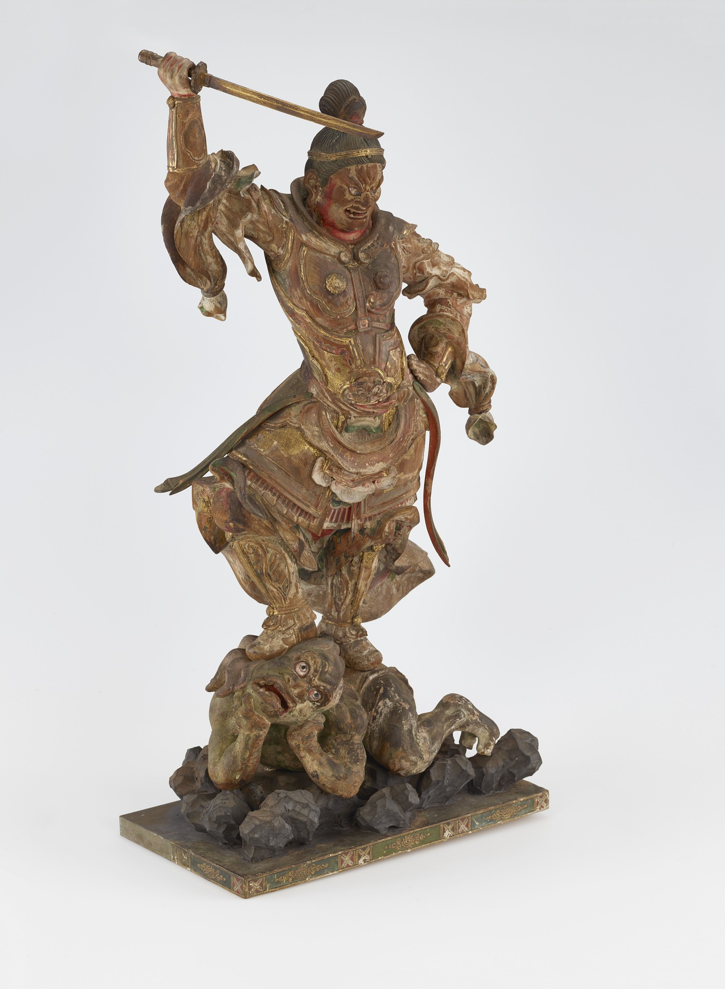 3/4 proper right: Jikoku-ten, Guardian of the East, one of a set of four Shitenno (Guardian Figures)