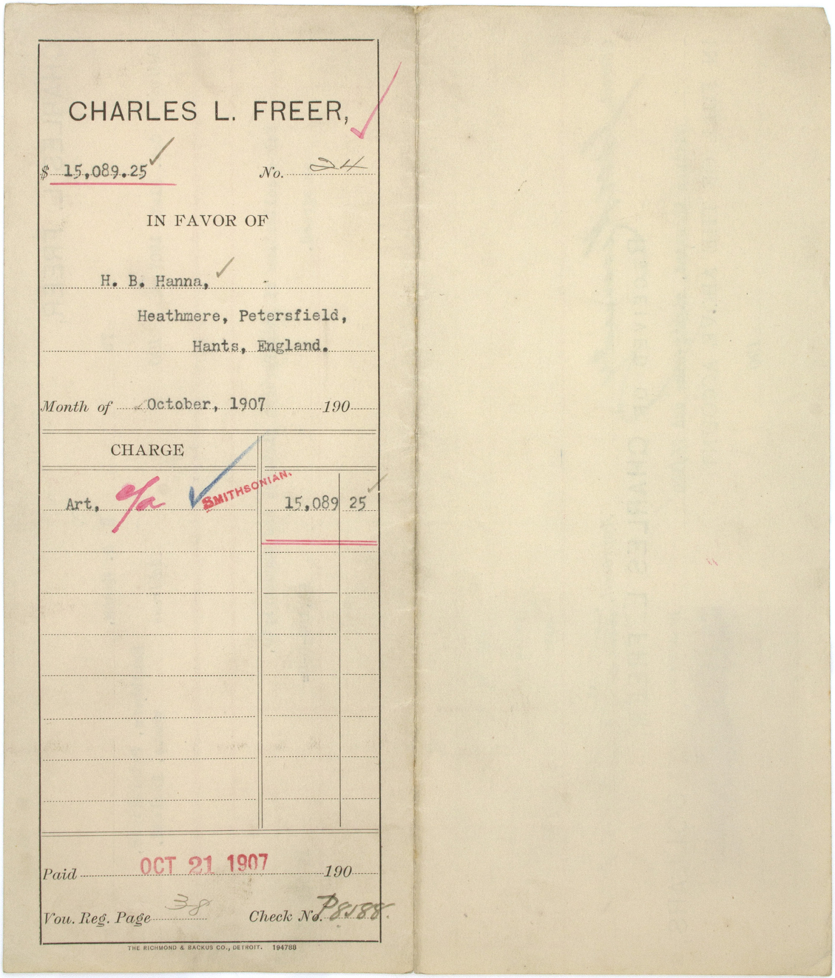 Record of Charles Lang Freer