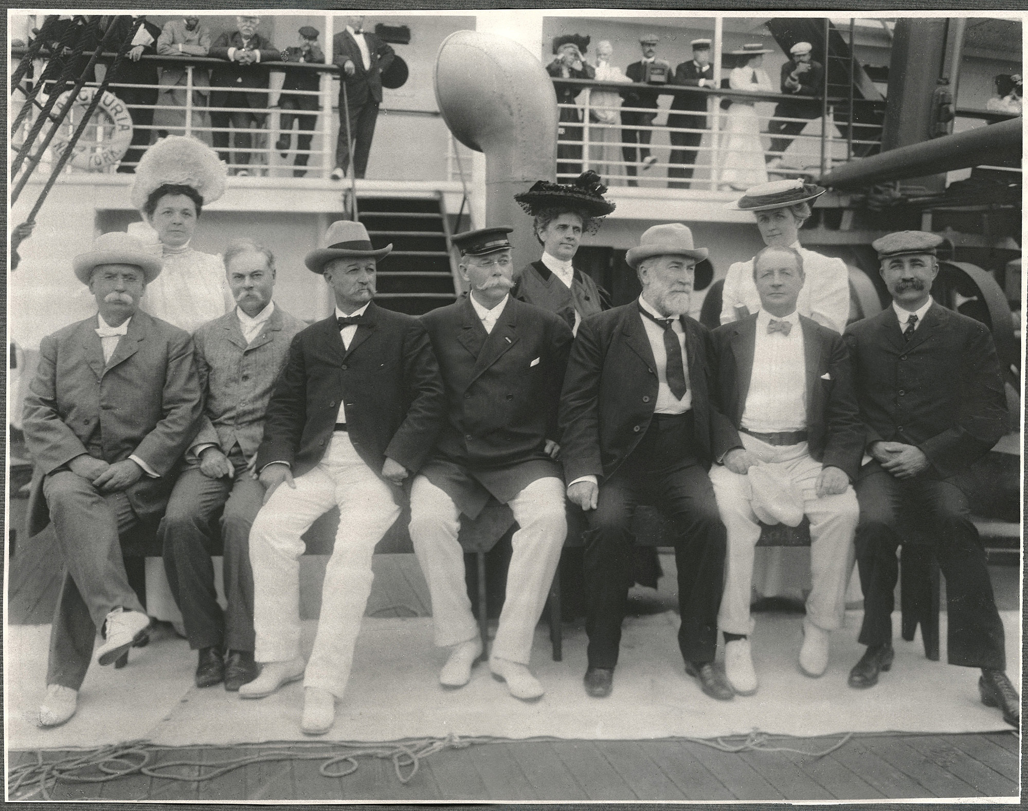 Senators and their wives aboard the SS Manchuria.