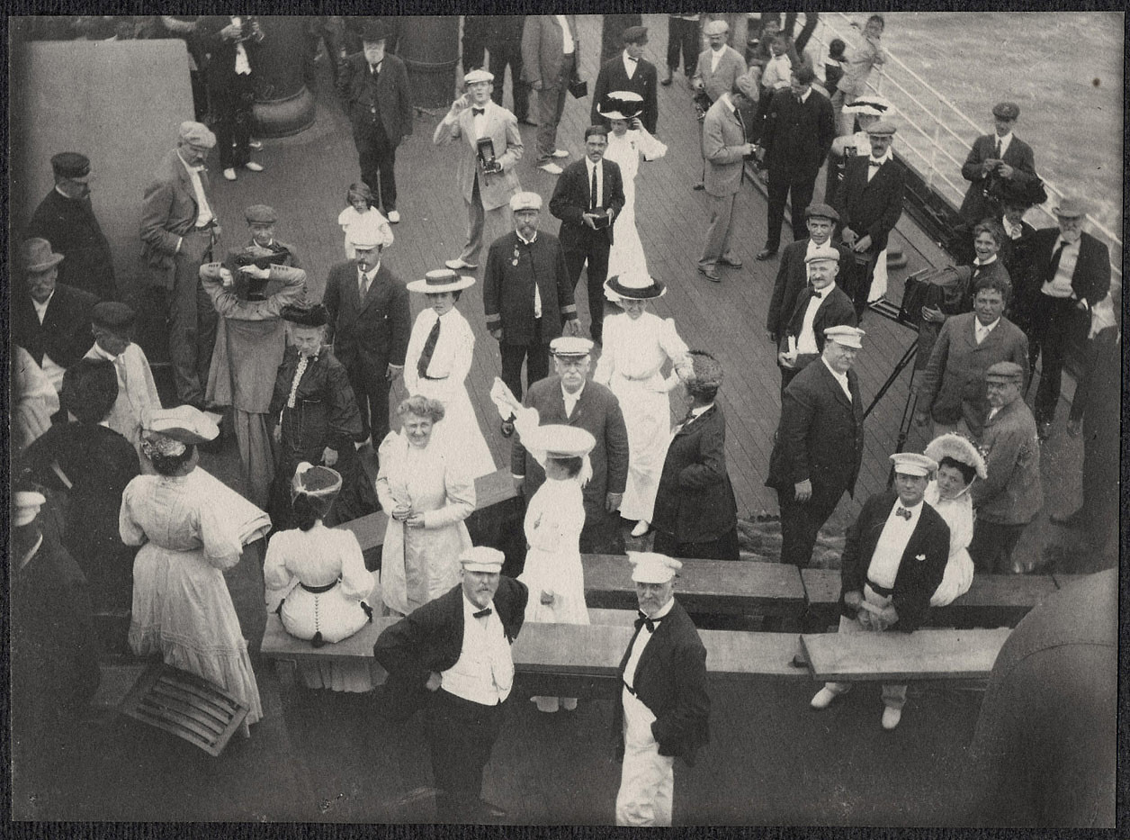 Passengers on deck of the SS Manchuria