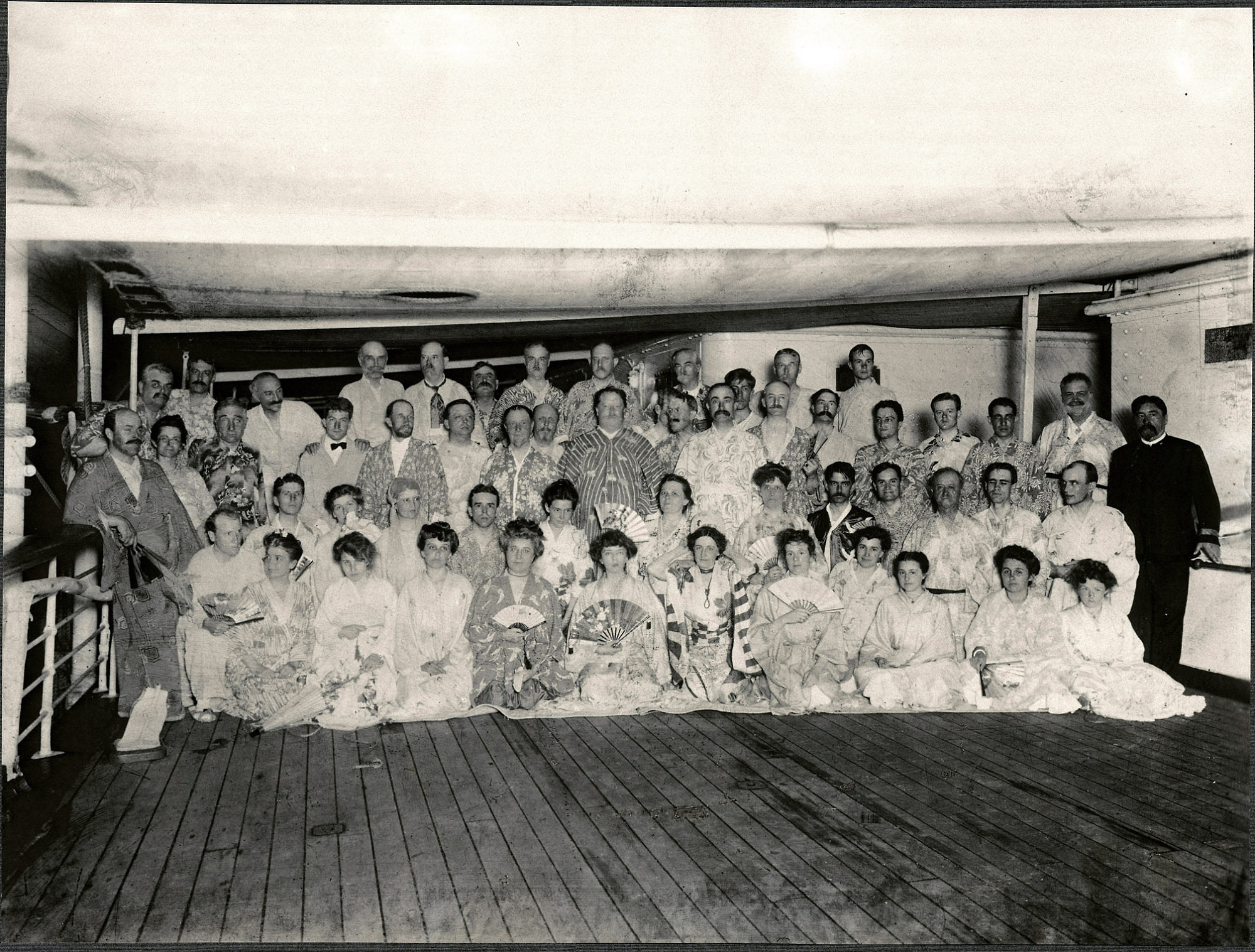 Passengers aboard the SS Manchuria dressed in kimono for an evening party