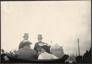 Yokohama: William Taft and Alice Roosevelt riding in carriage with US Ambassador Lloyd Griscom