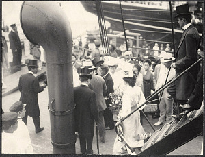 Yokohama: William H: Taft and Alice Roosevelt descending the boarding ramp