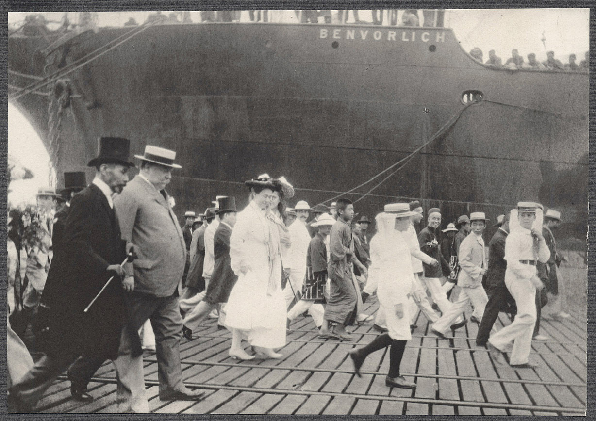 Yokohama: William H. Taft walking on the dock with Nagasaki Michinori