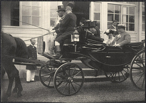Yokohama: William H. Taft and Alice Roosevelt leaving Imperial rest villa with Japanese dignitaries
