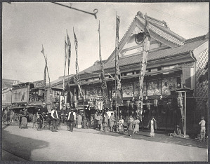 Tokyo: American men in rickshaws in front of a Theatre
