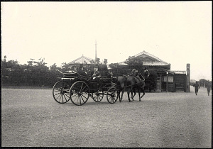 Tokyo: William H. Taft and Edwards arriving by carriage, likely at the luncheon at Korakuen