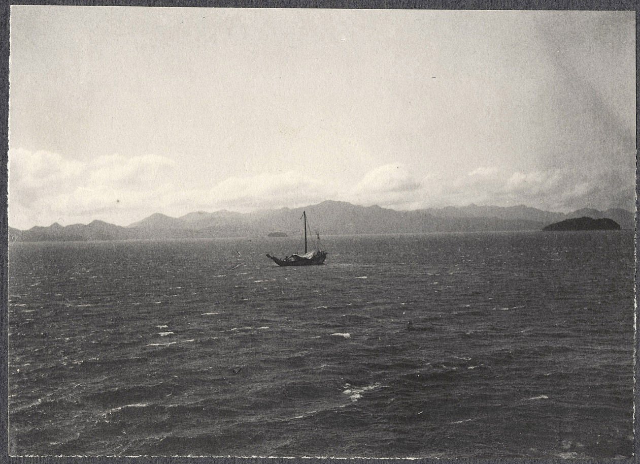 Small boat off the Japanese coast