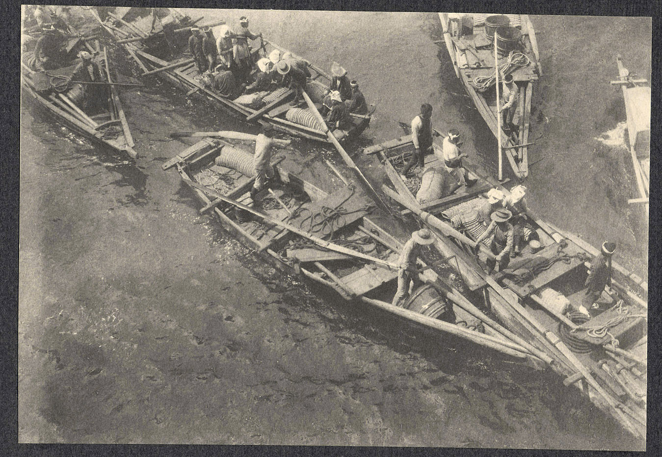 Small Japanese boats, seen from shipboard