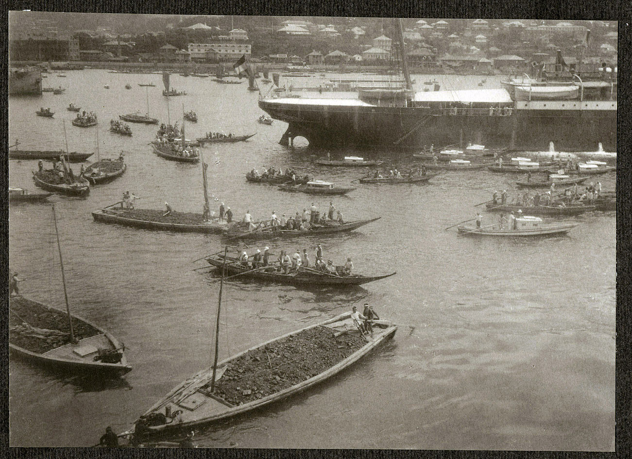 Small Japanese barges in harbor